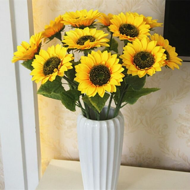 Artificial Flower Home Wedding Living Room Party Table Decor Silk Sunflowers o