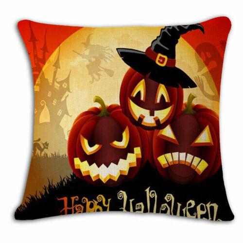 Halloween Sofa Decor Witch Castle Linen Throw Pillow Case Waist Cushion Cover