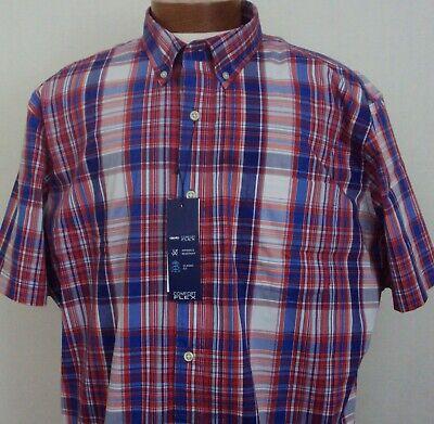 Mens SADDLBRED Big Tall Comfort Flex LS Red White Blue Sport Shirt 3X 3XLT 4X