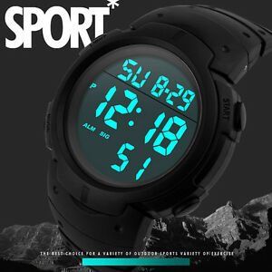 Reloj Hombre Resistente al agua Chico Deporte LCD Digital Cronómetro Fecha Goma