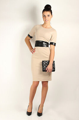 Stunning Women's Dress with Eco Leather Belt Crew Neck Sizes 8 -14 FA229