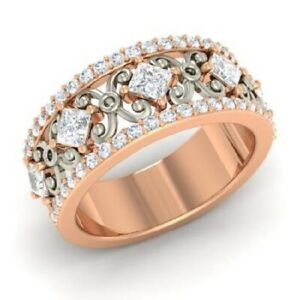 1.30 Ct Solitaire Real Moissanite Engagement Solid 18K Rose Gold Eternity Band
