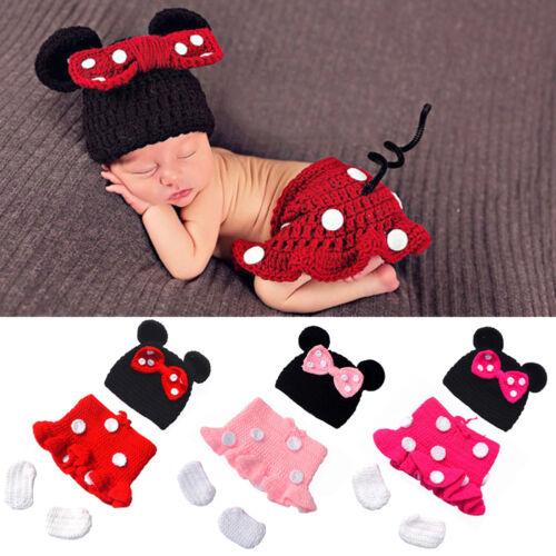 Newborn Baby Girls Minnie Mouse Costume Crochet Chapeau Photographie Accessoires Tenues