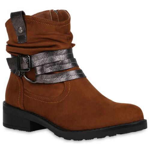 Damen Stiefeletten Gefütterte Biker Boots Cowboy Schuhe 832537 Schuhe