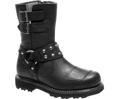 Harley-Davidson Women/'s MARMORA Leather Black Shoes D84058
