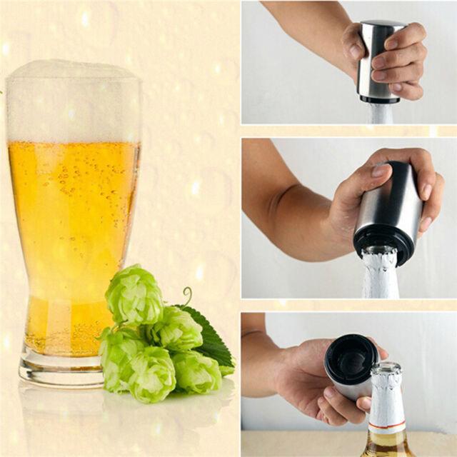 Bottle Opener Automatic Push Down Stainless Steel Juice Drinking Soda Cap Opener