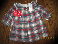 NWT 0 3 6 12 18 BABY GAP GIRL PLAID DRESS FLOWERS BOW TWINS NEW VALENTINE'S DAY