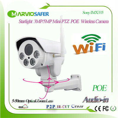 H 265 Starlight 5MP Wireless PTZ Security Camera Wifi POE Network IP Camera  RTSP   eBay