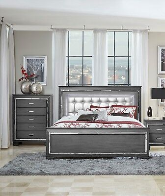 Glitzy Gray Mirrored Led Lights King Bed Bedroom Furniture Ebay