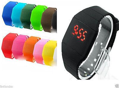 Men Women Battery Thin Silicone Digital LED Touch Sport Bracelet Wrist Watch New