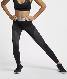 0fb308500b NIKE PRO WARM TIGHT FIT WOMEN 7/8 TRAINING GYM TIGHTS - BLACK AO9228 ...