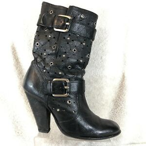 ad1026d0310e Sam Edelman Black Studded Grain Leather Block Heel Fashion Slouch ...