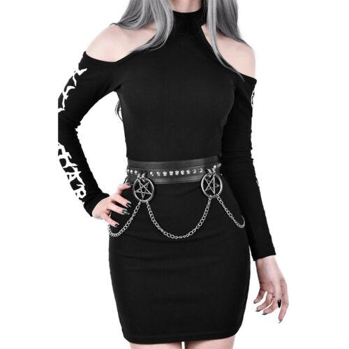 Killstar gótica GOTH ocultismo piel sintética cinturón Cinturón curses Chain cadenas
