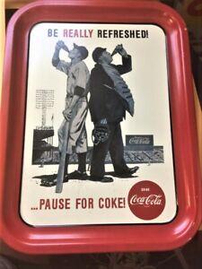 Coca-Cola-Tin-Tray-034-Be-Really-Refreshed-034-Baseball-Theme-1992