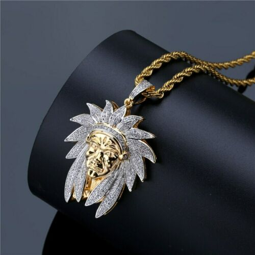 Details about  /2.50 CT Round Diamond Indian Chief Pendant Necklace Men/'s 14K Yellow Gold Finish