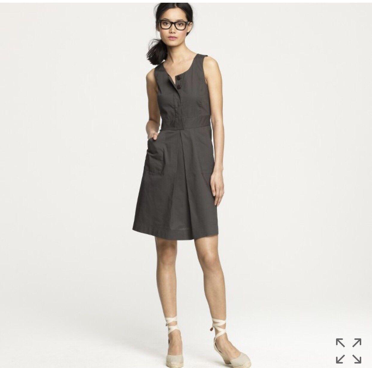 J CREW Olive Green Dress Size 8 A Line Caroline Cotton Sleeveless