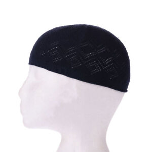 Mens Skull Cap Prayer Topi Kufi Chrochet Crochet Hat Islamic Muslim