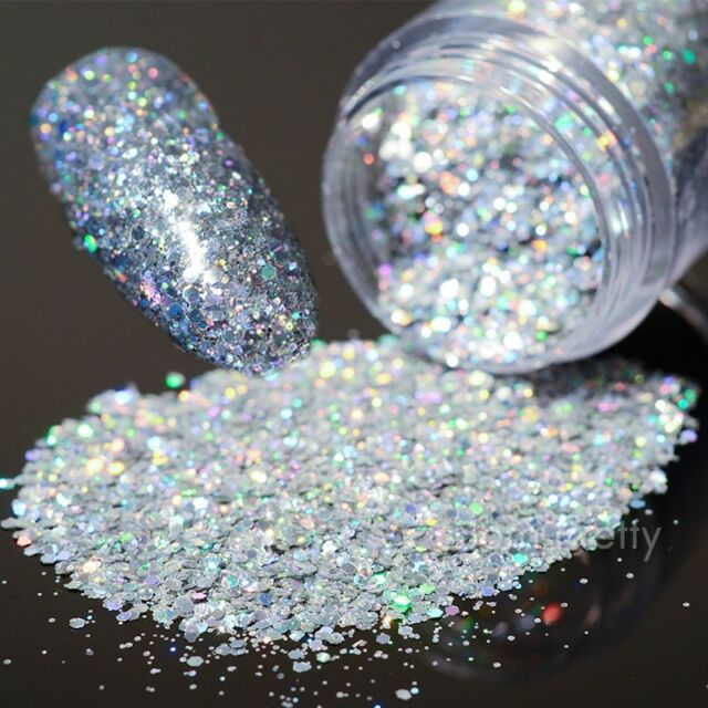 10g/Box Holo Laser Nail Art Glitter Sequins Shining Silver Hexagon Tips
