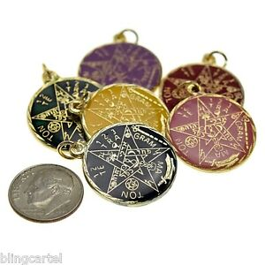 Color pentagram star pendant tetragrammaton wiccan occult gold tone image is loading color pentagram star pendant tetragrammaton wiccan occult gold mozeypictures Gallery