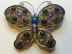Antique-Chinese-Sterling-Silver-Enameled-Butterfly-Brooch-w-Tiger-s-Eye-Stones