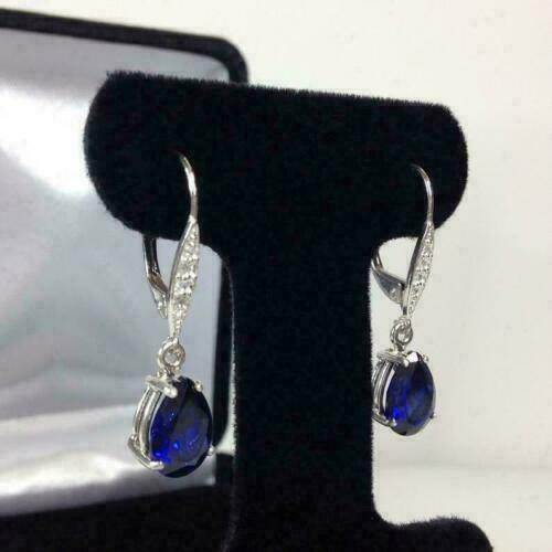 14K White Gold Over 4Ct Pear Cut Gorgeous Blue Sapphire Drop /& Dangle Earrings