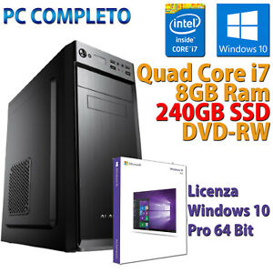 PC Computer Desktop Fisso Assemblato (Intel Quad Core i7, 8GB, SSD 240GB) - Nero