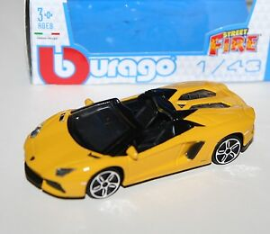 Image Is Loading Burago LAMBORGHINI AVENTADOR ROADSTER Yellow 039 Street  Fire