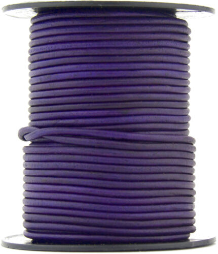 Xsotica® Violet Natural Dye Round Leather Cord 1mm 25 meters 27 yards