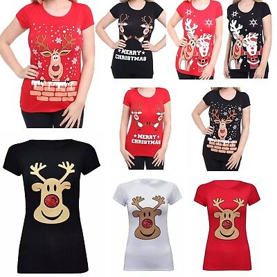 Ladies Reindeer Santa Friend Shirt Womens Snowflake Stretchy Long Sleeve Top
