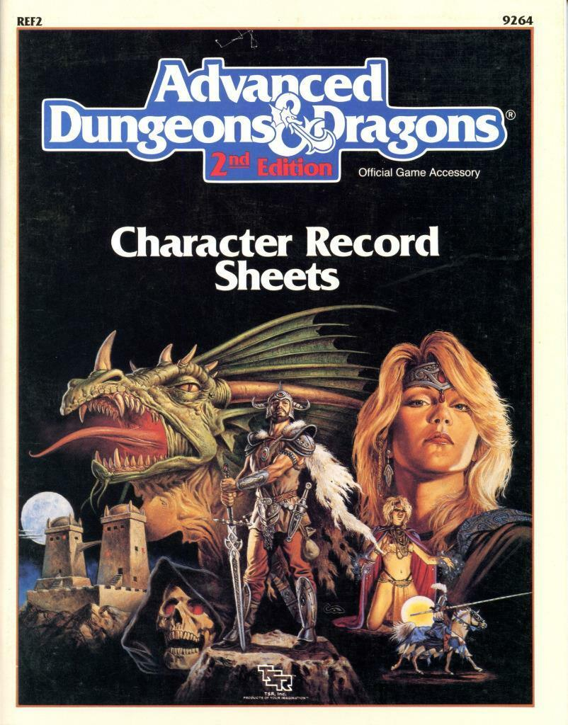 AD&D CHARACTER RECORD SHEETS VF  COMPLETE UNUSUED REF2 TSR 9264