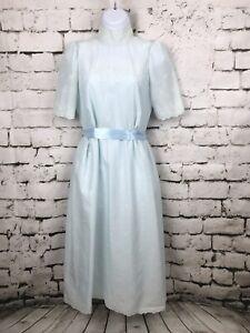 Vintage-70s-Modest-Prairie-Style-Light-Blue-Dress-High-Neck-Eyelet-Size-Small