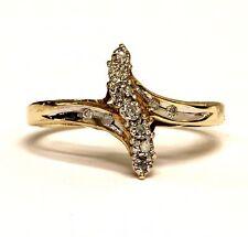 10k yellow gold .05ct round womens diamond cluster ring 1.9g vintage estate