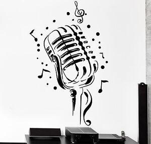 Vinyl Wall Decal Karaoke Club Retro Microphone Song Singer Stickers 1067ig