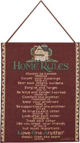 """Red HOME RULES Woven Tapestry with Scripture 13/"""" x 18/"""" by Manual Weavers"""
