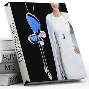 Damen-Halskette-Schmuck-Collier-Silber-lang-75cm-Kette-Schmetterling-Frauen-M10