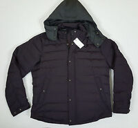 Vince Taffeta Quilted Down Hooded Jacket Black Cherry $675 Rare (size Large)