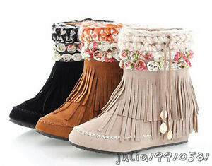 Girls Flower Boots Women's Sweet Tassels Fringes Mid Calf Shoes US All Size N402