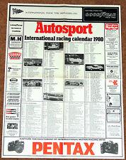 Autosport 1980 INTERNATIONAL RACING CALENDAR - F1 F2 F3 WCM Touring Cars AFX F1
