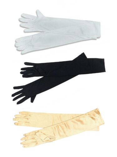 Ladies Long Opera #Gloves Black And White Or Gold Fancy Dress Accessory