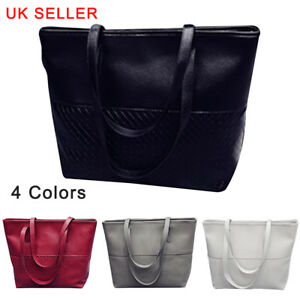 UK-Large-Women-039-s-Designer-Leather-Style-Tote-Shoulder-Bag-Satchel-Ladies-Handbag