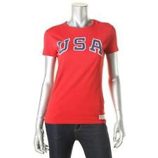 Polo Ralph Lauren 8833 Womens Red Graphic Short Sleeves Cotton T-Shirt M BHFO