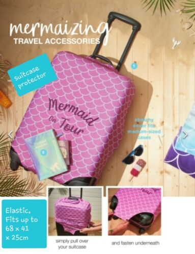 """Stretchy Fits Medium Cases Avon /""""Mermaid On Tour/"""" Pink Suitcase Cover Protector"""