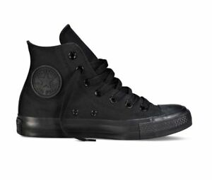 Converse-Nere-Alte-Monochrome-M3310-total-Black-High-Tela-Classic-All-Star