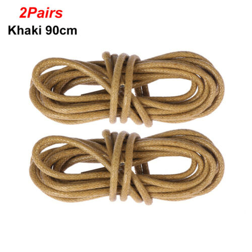 2 Pairs Round Waxed Shoelaces Boots Laces Strings Leather Dress Shoes Laces Cord