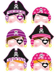 6-Mousse-Fille-Pirate-Masques-Pinata-Jouet-Sachet-Sac-de-Fete