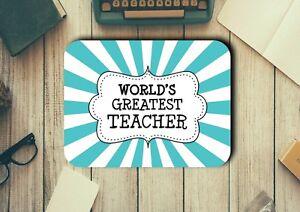 Teacher Gift Ideas Worlds Greatest Teacher Mouse Pad Easy Glide Neoprene