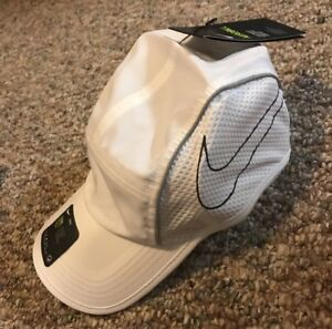 ec6ccaaeb Details about NEW NIKE AEROBILL AW84 LIGHTWEIGHT RUNNING HAT CAP WHITE  BLACK ADJUSTABLE OS