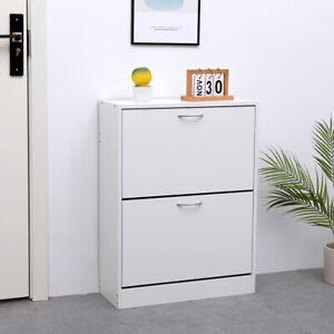 AVC-Designs-2-Draw-Shoe-Storage-Cupboard-Footwear-Cabinet-Rack-Unit-White-inc-Wa