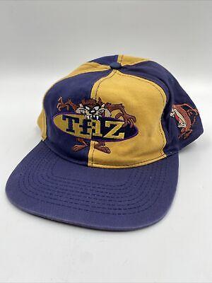 Vintage 90s TAZ Tasmanian Devil Warner Bros ACME Clothing Black Acrylic Beanie Winter Hat Cap Adult Medium Flex Fit