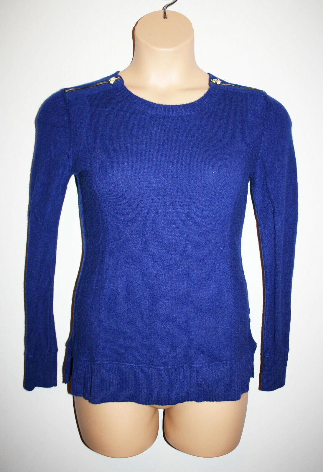 Womens SAKS FIFTH AVE Cobalt bluee Cashmere Sweater Long Sleeve Zippers Small S